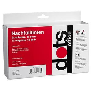 5 dots 2x schwarz, 1x cyan, 1x magenta, 1x gelb Tintenflaschen ersetzen EPSON 102/T03R14, 102/T03R24, 102/T03R34, 102/T03R44