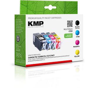 4 KMP C72V schwarz, cyan, magenta, gelb Tintenpatronen ersetzen Canon PGI-520 BK, CLI-521 C/M/Y