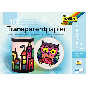 folia Transparentpapier farbsortiert 42 g/qm 10 Blatt