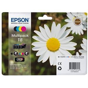 4 EPSON 18 / T1806 schwarz, cyan, magenta, gelb Tintenpatronen