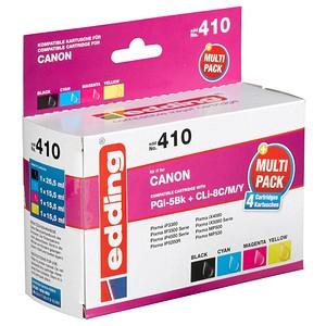 4 edding EDD-410 schwarz, cyan, magenta, gelb Tintenpatronen ersetzt Canon PGI-5 BK, CLI-8 C/M/Y