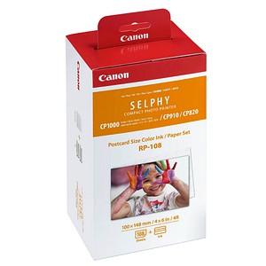 Set: Canon Fotopapier RP-108 10,0 x 14,8 glänzend + 2 Farbkartuschen
