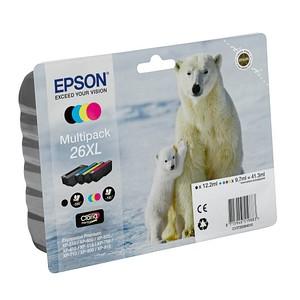 4 EPSON 26XL / T2636XL schwarz, cyan, magenta, gelb Tintenpatronen