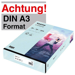 tecno Kopierpapier colors hellblau DIN A3 80 g/qm 500 Blatt