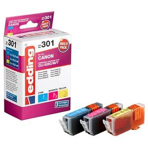 3 edding EDD-301 cyan, magenta, gelb Tintenpatronen ersetzt Canon CLI-526 C/M/Y